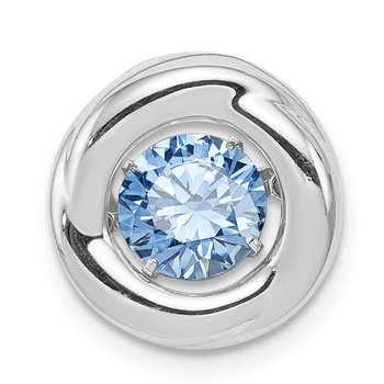 Sterling Silver Platinum-plated Polished Vibrant Blue CZ Circle Pendant