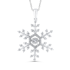 Essentials Sterling Silver 1/5 ct Round Diamond Snowflake Pendant with Chain