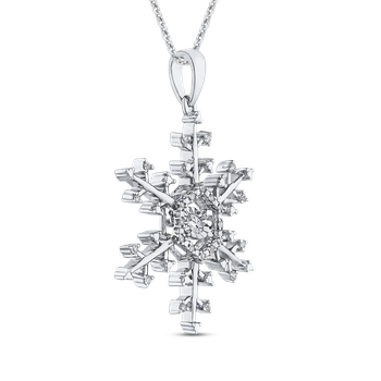 Sterling Silver 1/5 ct Round Diamond Snowflake Pendant with Chain