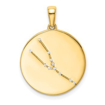 Sterling Silver Gold-plated & CZ Taurus Zodiac Pendant