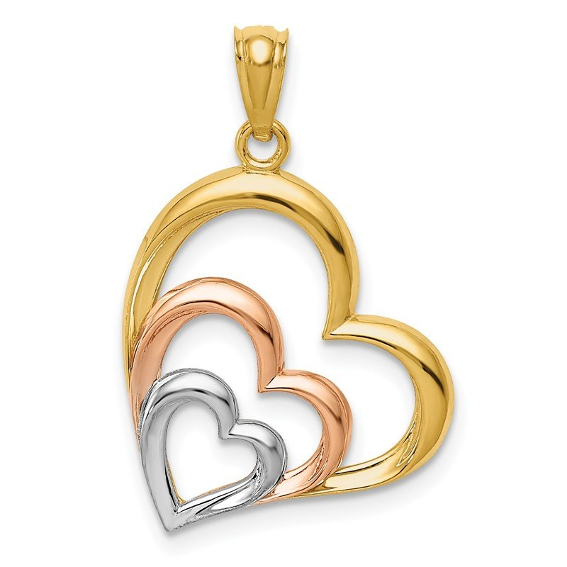 Quality Gold 14K Two-tone and White Rhodium Polished 3 Hearts Pendant