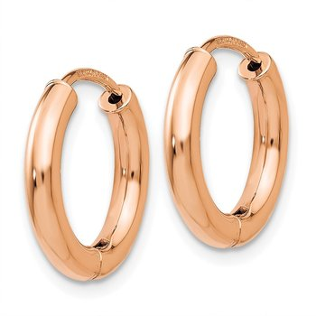 14K Rose Gold Polished Hollow Hinged Hoop Earrings