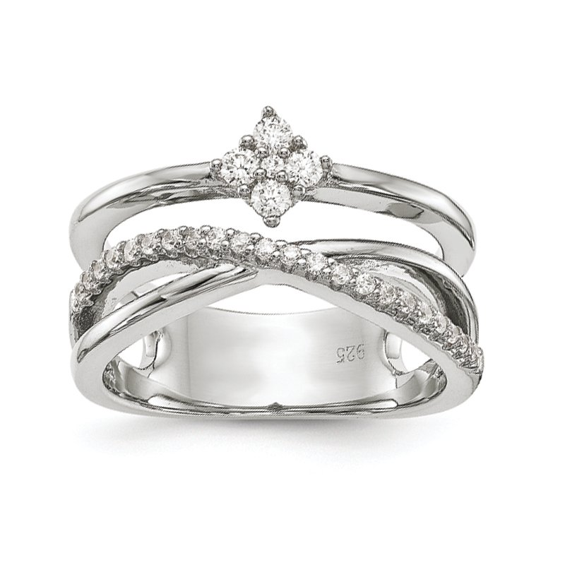 JC Sipe Essentials Sterling Silver Polished with CZ Ring