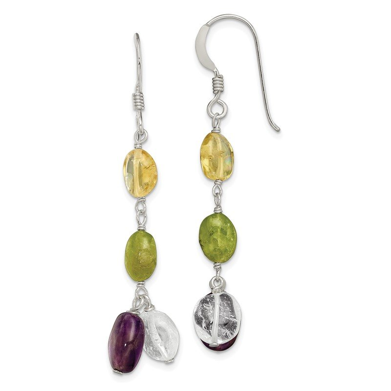 Quality Gold Sterling Silver Amethyst/Citrine/Peridot/Rock Quartz Shep. Hook Earrings