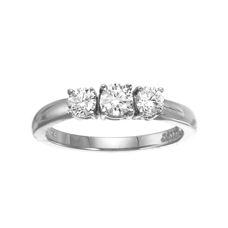 Color Merchants 14k White Gold 0.50 Ct Three Stone Diamond Ring