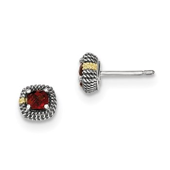 Sterling Silver w/14k Square Cushion Garnet Post Earrings