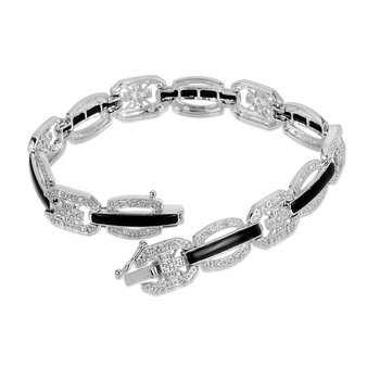 14K WG Onyx and Diamond Fashion Bracelet