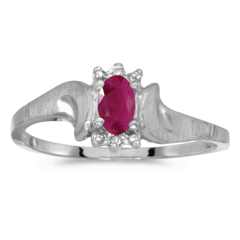 Color Merchants 10k White Gold Oval Ruby And Diamond Satin Finish Ring