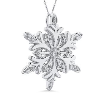 0.04 ct Round Diamond Snowflake Pendant with Chain