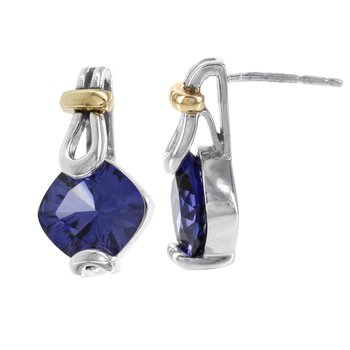 Sterling Silver and 10k Rose Gold Created Blue Garnet Earrings