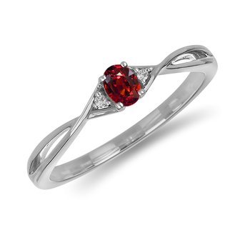 10K WG and diamond and Garnet infinity style birthstone ring