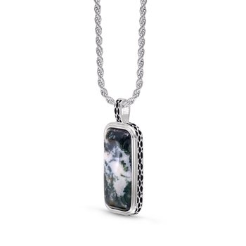LuvMyJewelry Tree Agate Stone Tag in Sterling Silver & Black Rhodium