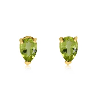 14k Yellow Gold Peridot Pear-Shaped Earring