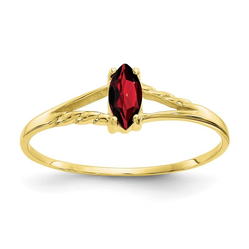 Quality Gold 10k Polished Geniune Garnet Birthstone Ring