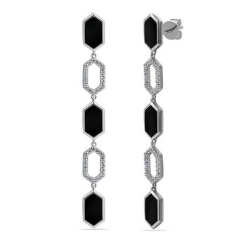 14K art deco long drop earrings with 72 diamonds 0.28ct & 6 black gate 2.76ct