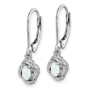 Sterling Silver Rhodium-plated Diam. & Created Opal Earrings