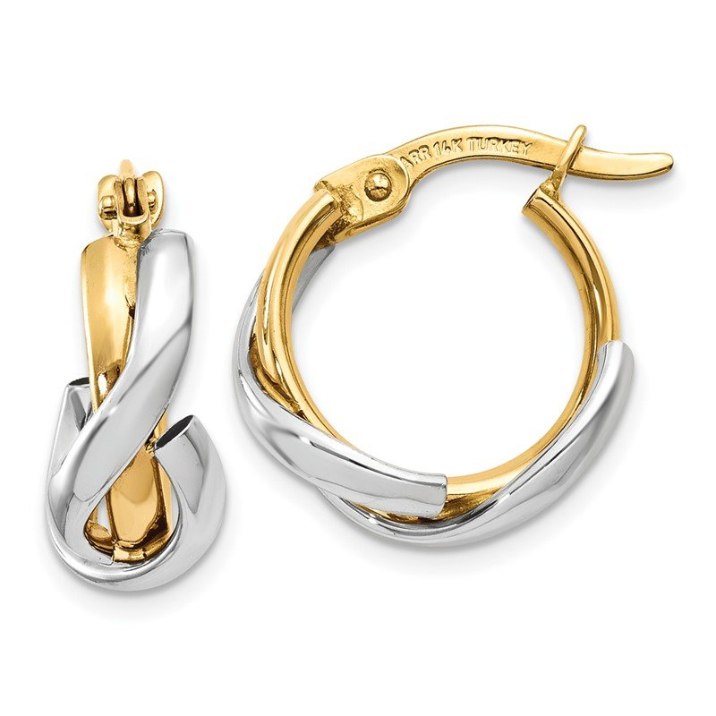 Arizona Diamond Center Collection 14K Two-Tone Polished Fancy Hoop Earrings