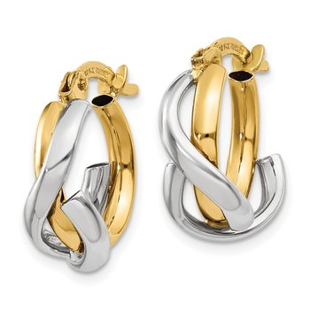 14K Two-Tone Polished Fancy Hoop Earrings