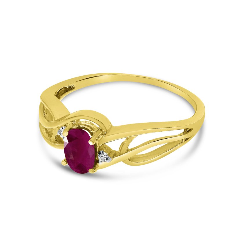 Color Merchants 14k Yellow Gold Oval Ruby And Diamond Curve Ring