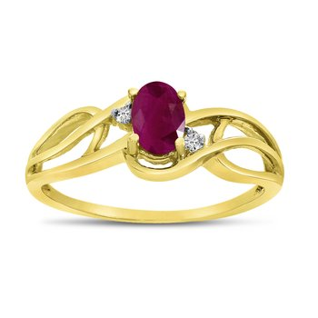 14k Yellow Gold Oval Ruby And Diamond Curve Ring