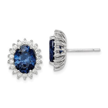 Sterling Silver Blue and Clear CZ Post Earring