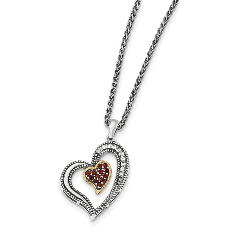 Shey Couture Sterling Silver w/14k Garnet & White Topaz Heart Necklace