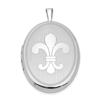 Sterling Silver Rhodium-plated 26mm Fleur De Lis Oval Locket