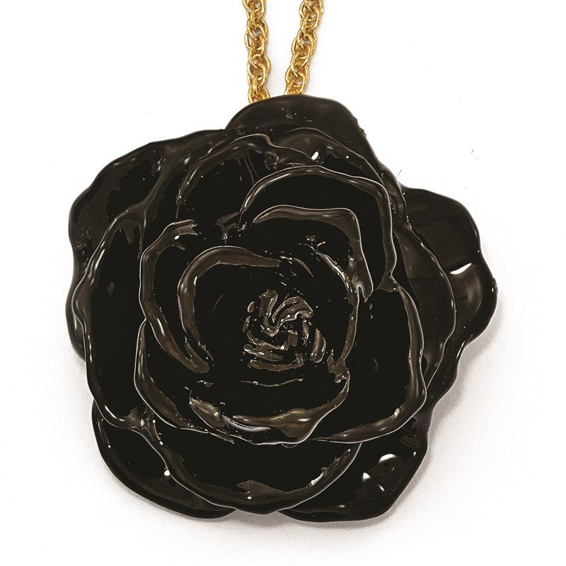 Quality Gold Lacquer Dipped Black Rose with 18 inch Gold-tone Necklace