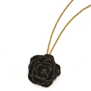 Lacquer Dipped Black Rose with 18 inch Gold-tone Necklace