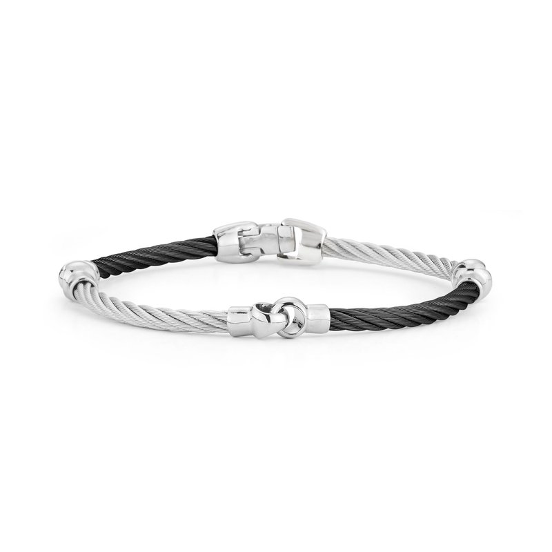 ALOR Black & Grey Cable Interlocking Bracelet
