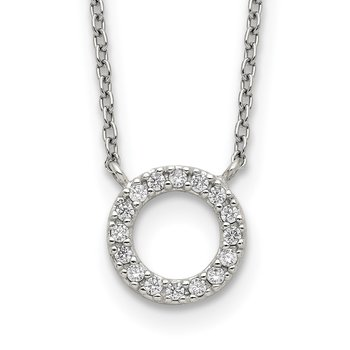 Sterling Silver CZ Circle Necklace