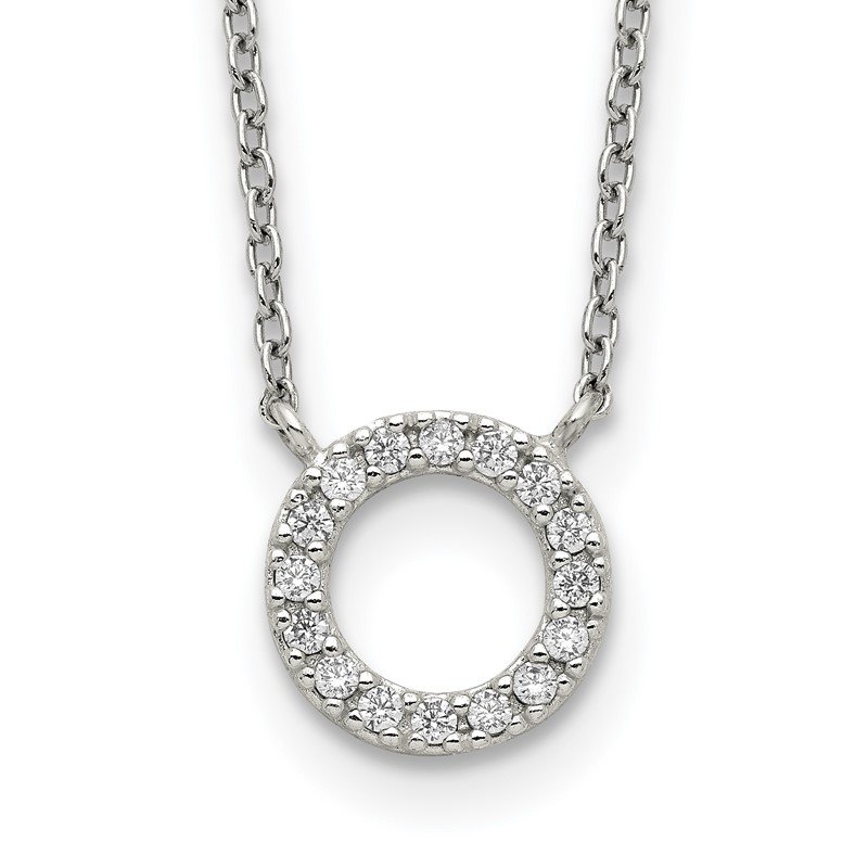 Quality Gold Sterling Silver CZ Circle Necklace