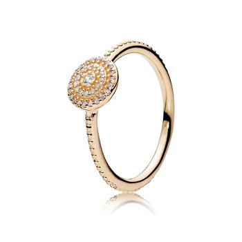 Radiant Elegance Ring, 14K Gold Clear Cz