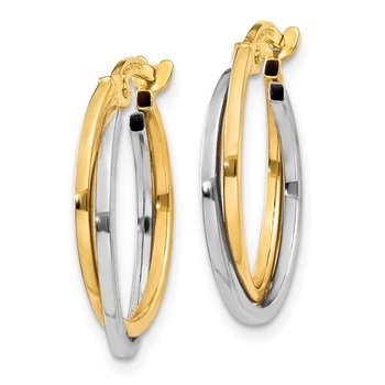 14k Two-tone Polished Hollow Hoop Earrings