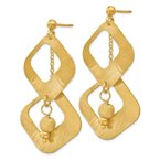 Leslie's Leslie's Sterling Silver Gold-plated Satin & D/C Post Dangle Earrings