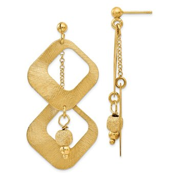 Leslie's Sterling Silver Gold-plated Satin & D/C Dangle Post Earrings