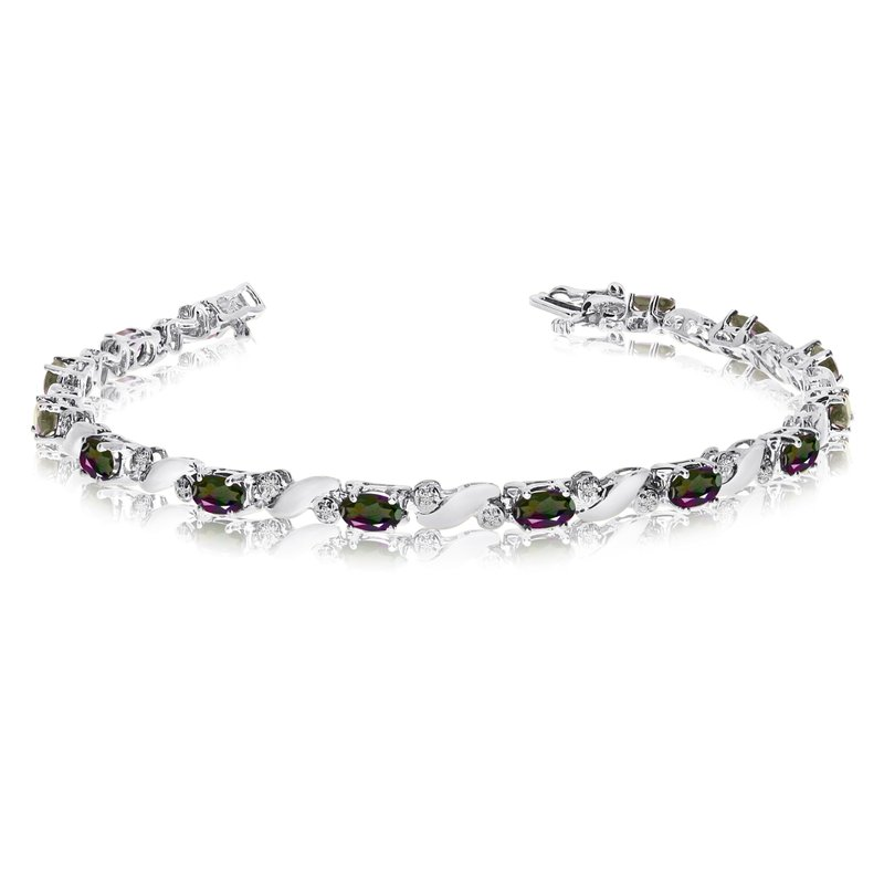 Color Merchants 14k White Gold Natural Mystic-Topaz And Diamond Tennis Bracelet