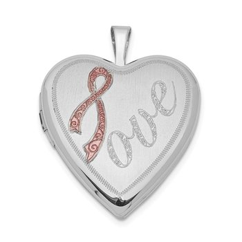 Sterling Silver Rhodium-plated 20mm Satin Pink Ribbon Love Heart Locket