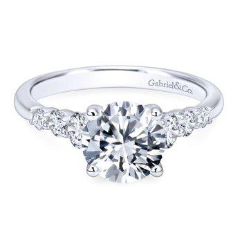 14k White Gold Trellis Setting Diamond Straight Engagement Ring