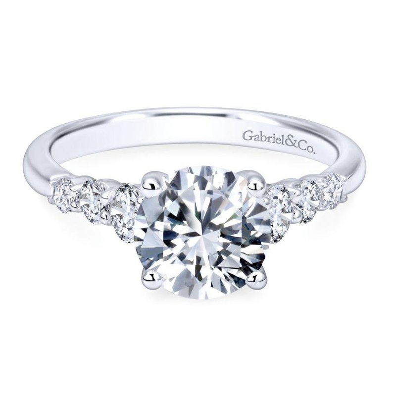 Gabriel  14k White Gold Trellis Setting Diamond Straight Engagement Ring