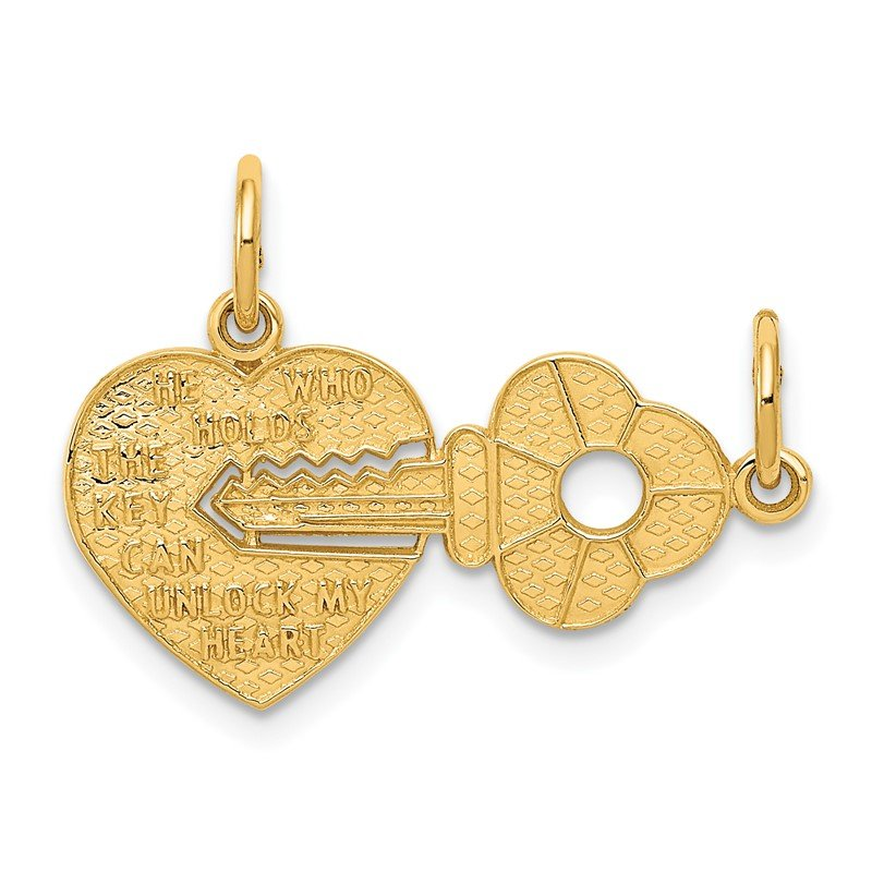 Quality Gold 14k Heart and Key Break Apart Charm