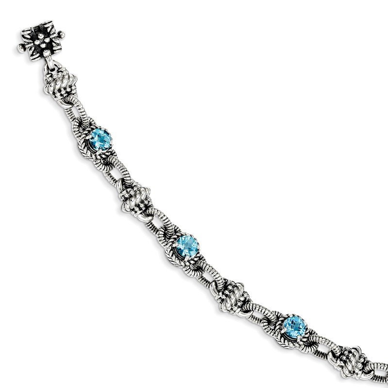Shey Couture Sterling Silver Swiss Blue Topaz Bracelet