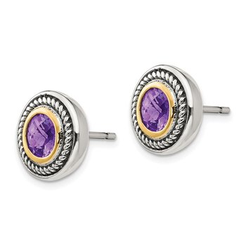 Sterling Silver w/14k Amethyst Earrings