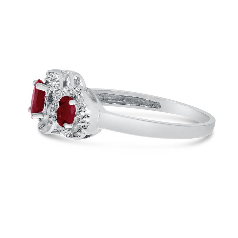 Color Merchants 10k White Gold Oval Garnet And Diamond Three Stone Ring