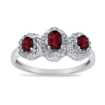 10k White Gold Oval Garnet And Diamond Three Stone Ring
