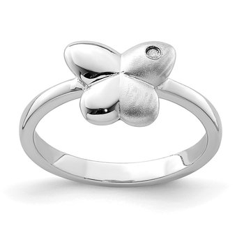 Sterling Silver Rhodium-plated Polished & Satin CZ Butterfly Ring