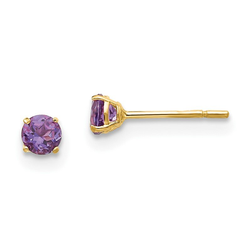Quality Gold 14k Madi K Round Amethyst 3mm Post Earrings