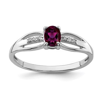 Sterling Silver Rhod-plated Diamond Rhodolite Garnet Ring