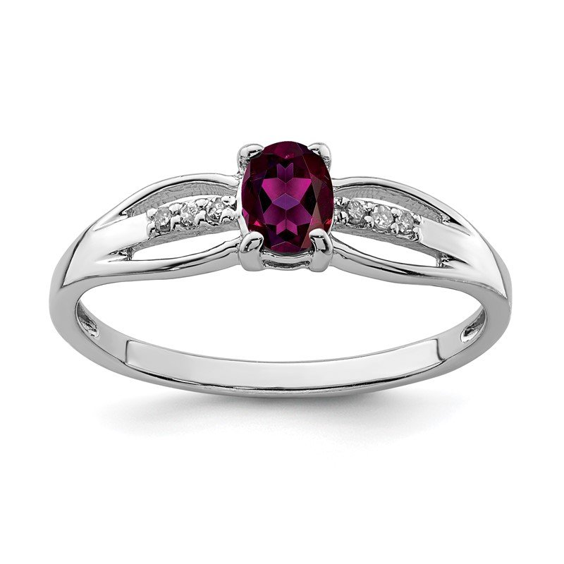 Lester Martin Online Collection Sterling Silver Rhod-plated Diamond Rhodolite Garnet Ring