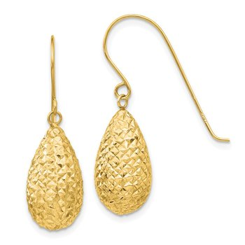 14k Puff Teardrop Earrings